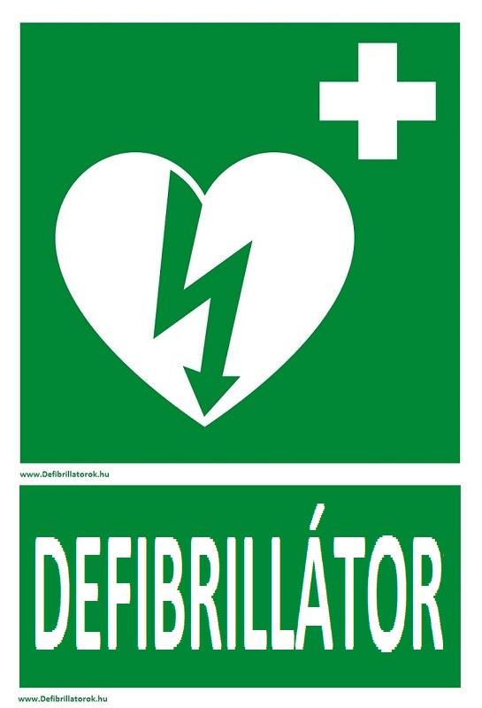 Defibrillátor jelző műanyag tábla