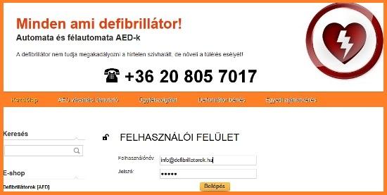 Bejelentkezés a www.defibrillatorok.hu oldalára