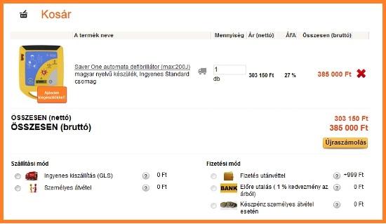 Kosár tartalma - www.defibrillatorok.hu